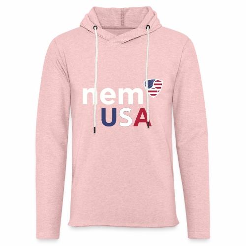 NEM USA white - Felpa con cappuccio leggera unisex