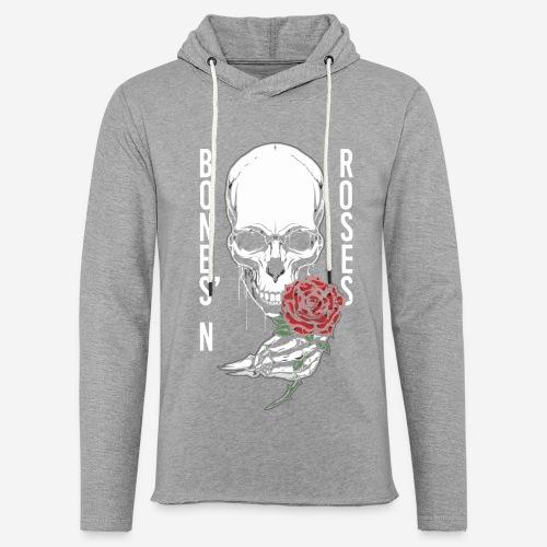 Knochen Rosen Schädel - Leichtes Kapuzensweatshirt Unisex
