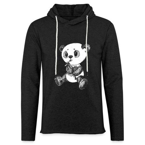Panda bjørn hvid scribblesirii - Let sweatshirt med hætte, unisex