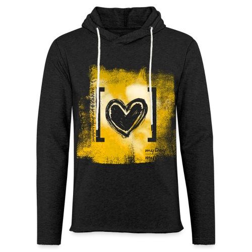 Herz / gelb - Leichtes Kapuzensweatshirt Unisex