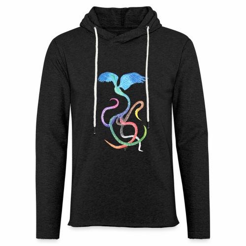 Graceful - Rainbow Bird in Ink - Light Unisex Sweatshirt Hoodie