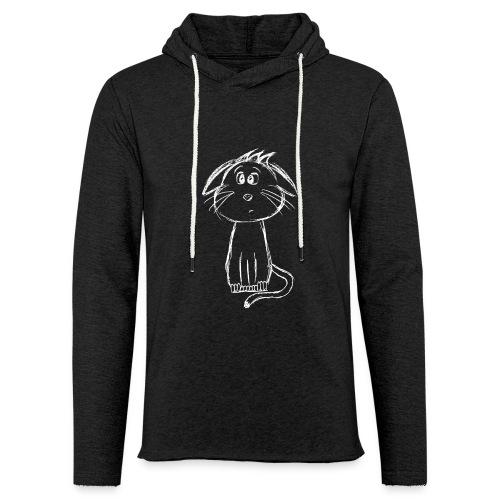 Kat kattunge hvid scribblesirii - Let sweatshirt med hætte, unisex