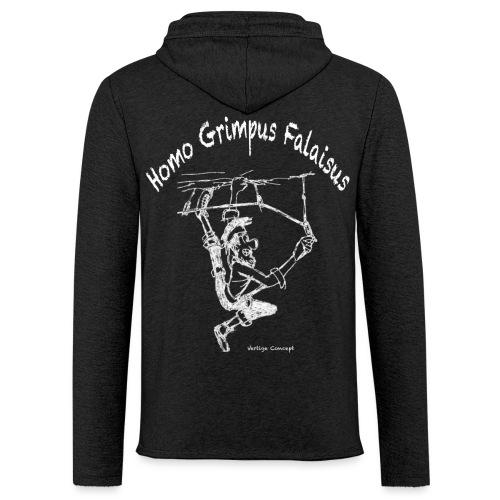 Esquisse grimpeur blanc Homo Grimpus Falaisus - Sweat-shirt à capuche léger unisexe