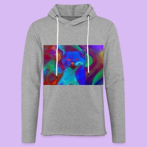 Gattino con effetti neon surreali - Felpa con cappuccio leggera unisex