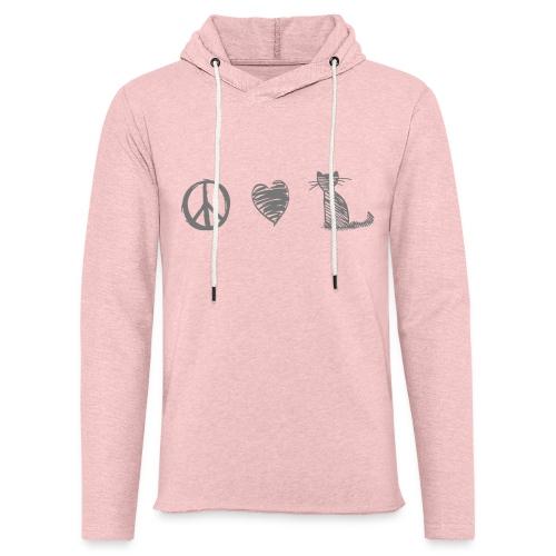 Vorschau: peace love cats - Leichtes Kapuzensweatshirt Unisex
