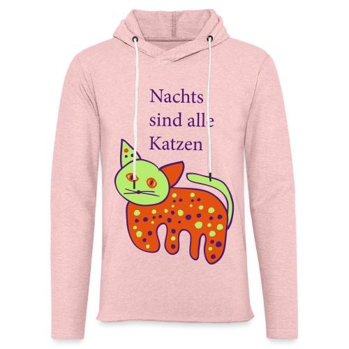 Nachts sind Katzen bunt - Leichtes Kapuzensweatshirt Unisex