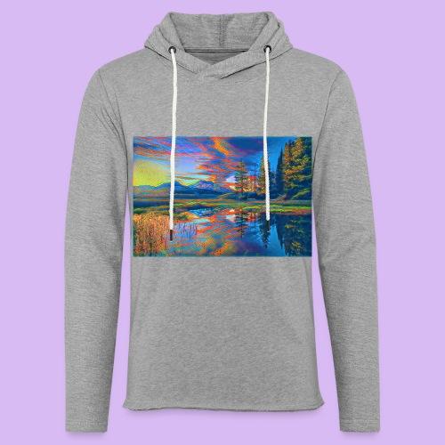 Paesaggio al tramonto con laghetto stilizzato - Felpa con cappuccio leggera unisex
