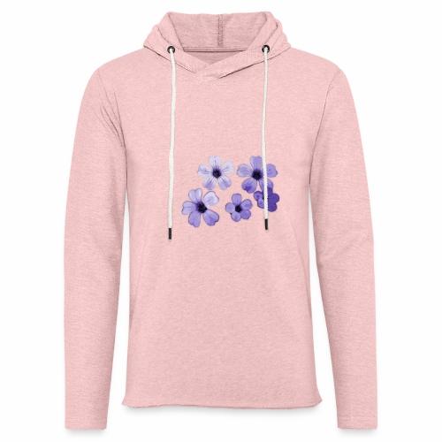 Blumen blau - Leichtes Kapuzensweatshirt Unisex