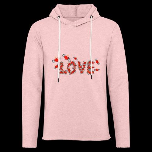 Flying Hearts LOVE - Let sweatshirt med hætte, unisex