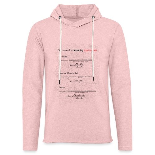 Formulas for calculating steps-per-mm. - Light Unisex Sweatshirt Hoodie