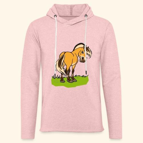 Freundliches Fjordpferd (Ohne Text) Weisse Umrisse - Sweat-shirt à capuche léger unisexe