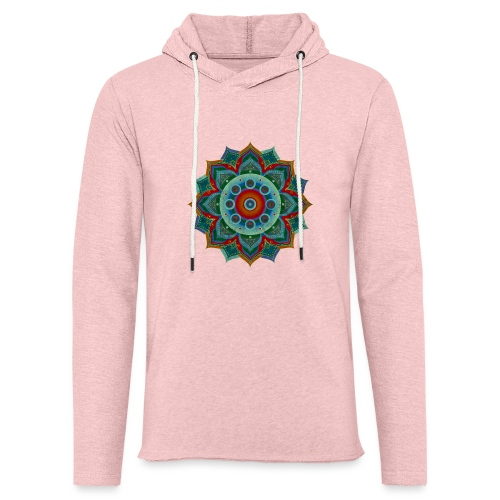 HANDPAN hang drum MANDALA blue red grey - Leichtes Kapuzensweatshirt Unisex