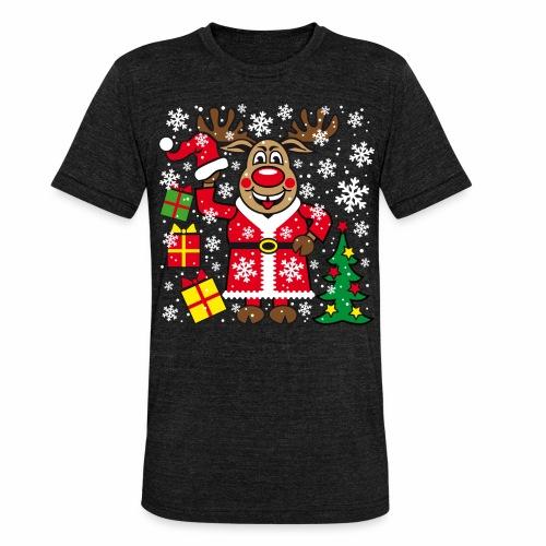 76 Hirsch Rudolph Weihnachtsbaum Geschenke - Unisex Tri-Blend T-Shirt von Bella + Canvas