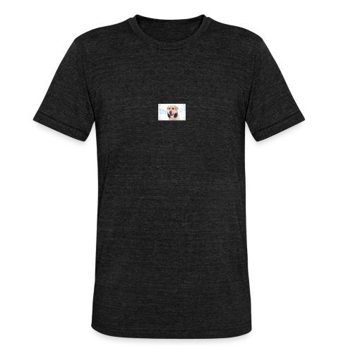 Hond Met Koptelefoon Op Borst - Unisex tri-blend T-shirt van Bella + Canvas