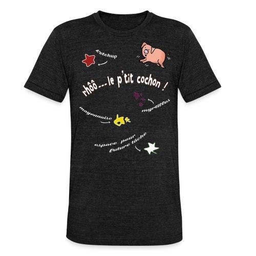 Rhoo le ptit cochon ! (version pour fond sombre) - T-shirt chiné Bella + Canvas Unisexe