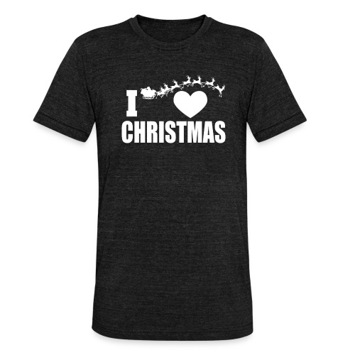 I Love Christmas Heart Natale - Maglietta unisex tri-blend di Bella + Canvas