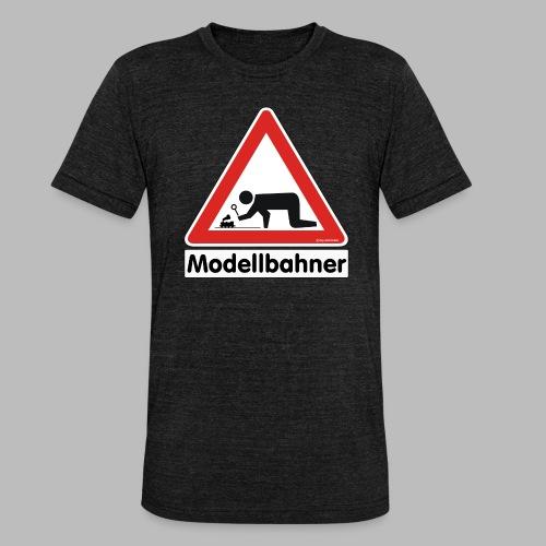 Warnschild Modellbahner Dampflok - Unisex Tri-Blend T-Shirt von Bella + Canvas
