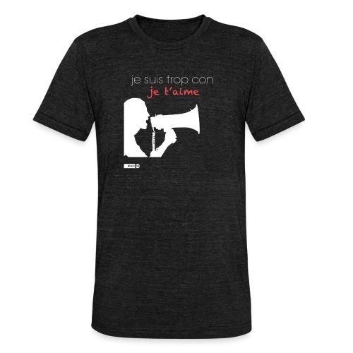 je suis trop con je t'aime - megaphone - T-shirt chiné Bella + Canvas Unisexe