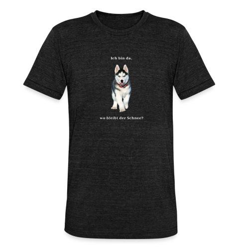 Husky Welpen mit bezaubernden Augen - Unisex Tri-Blend T-Shirt von Bella + Canvas
