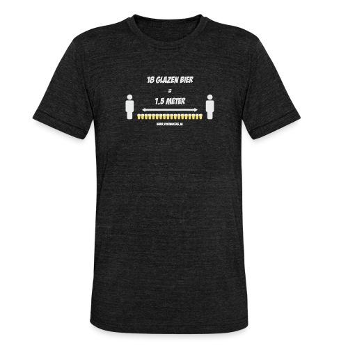 18 Glazen bier = 1,5 meter - Unisex tri-blend T-shirt van Bella + Canvas