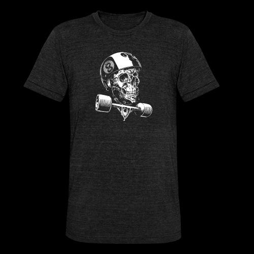 Skull Longboard Rider - negative print - T-shirt chiné Bella + Canvas Unisexe