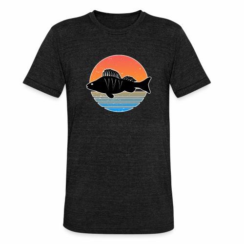 Retro Barsch Angeln Fisch Wurm Raubfisch Shirt - Unisex Tri-Blend T-Shirt von Bella + Canvas