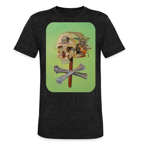 oil painting of skull and bones - Unisex tri-blend T-shirt van Bella + Canvas