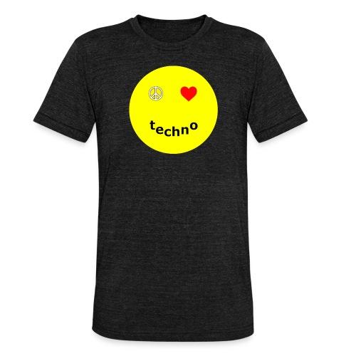 camiseta paz amor techno - Camiseta Tri-Blend unisex de Bella + Canvas