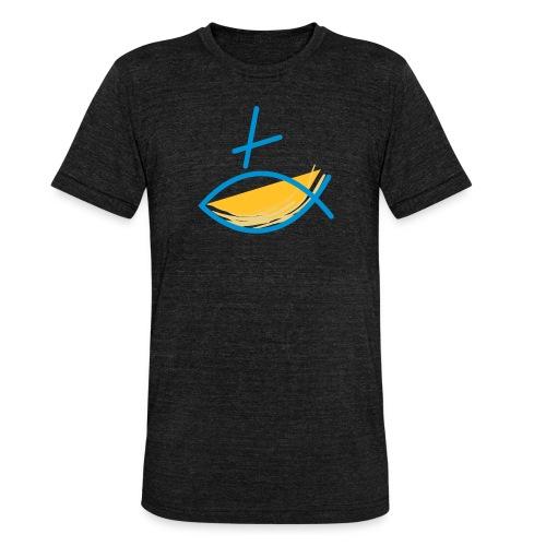 Altkatholischer Logo Fisch Blau/Gelb - Unisex Tri-Blend T-Shirt von Bella + Canvas