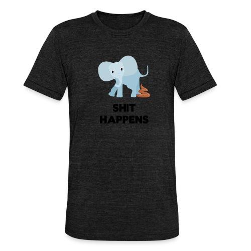 olifant met drol shit happens poep schaamte - Unisex tri-blend T-shirt van Bella + Canvas