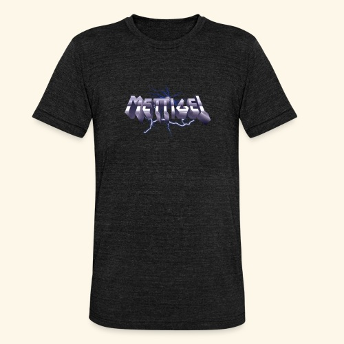 Mettigel T Shirt Design Heavy Metal Schriftzug - Unisex Tri-Blend T-Shirt von Bella + Canvas
