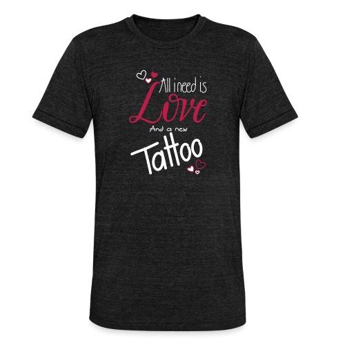 all i need is... (weiss) - Unisex Tri-Blend T-Shirt von Bella + Canvas