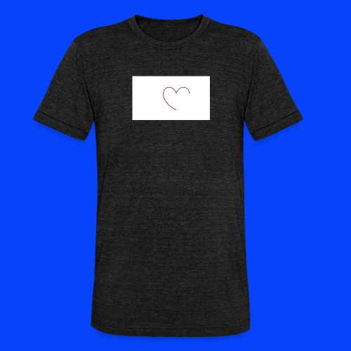 t-shirt bianca con cuore - Maglietta unisex tri-blend di Bella + Canvas