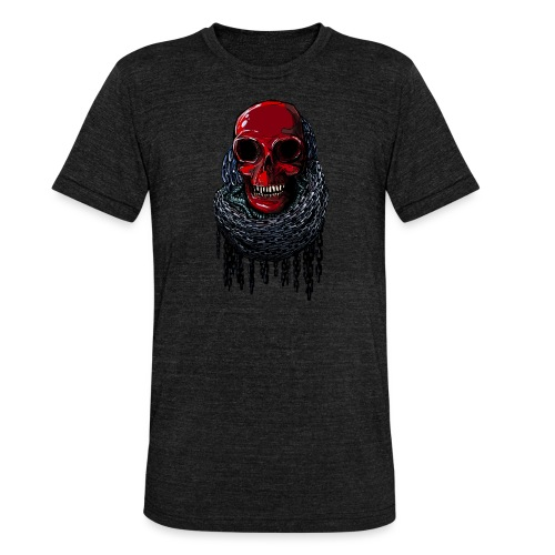 RED Skull in Chains - Unisex Tri-Blend T-Shirt by Bella & Canvas
