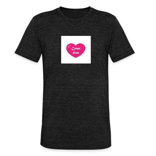 Spread shirt hjärta carpe diem vit text - Triblend-T-shirt unisex från Bella + Canvas