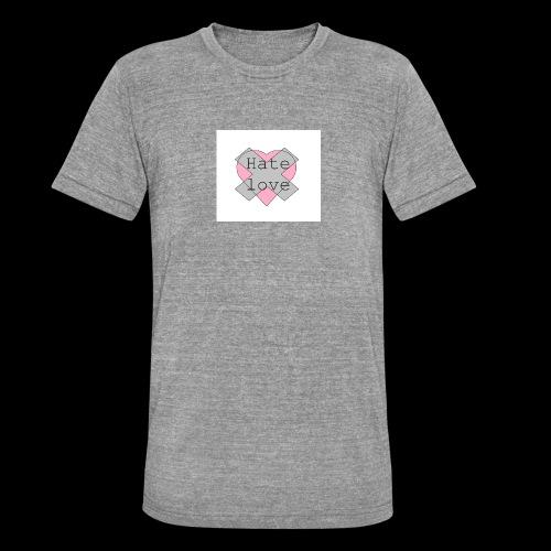 Hate love - Camiseta Tri-Blend unisex de Bella + Canvas