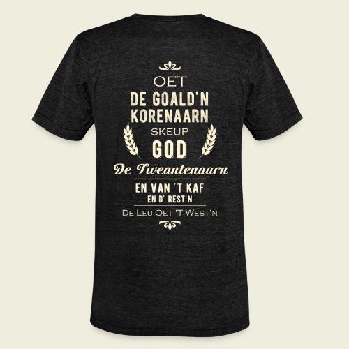 Oet de goald'n korenaarn skeup God de Tweantenaarn - Unisex tri-blend T-shirt van Bella + Canvas
