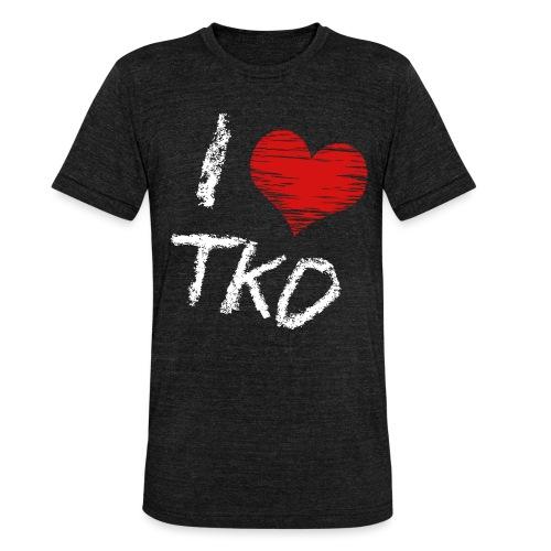 I love tkd letras blancas - Camiseta Tri-Blend unisex de Bella + Canvas