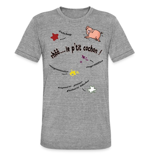 Rhoo le ptit cochon ! (version pour fond blanc) - T-shirt chiné Bella + Canvas Unisexe