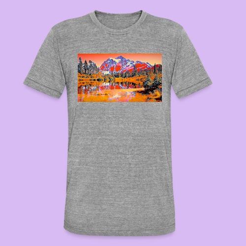 Montagne rosse punteggiate - Maglietta unisex tri-blend di Bella + Canvas