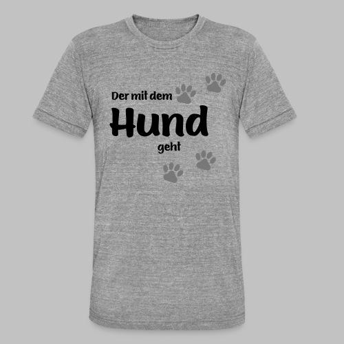 Der mit dem Hund geht - Colored Paw - Unisex Tri-Blend T-Shirt von Bella + Canvas