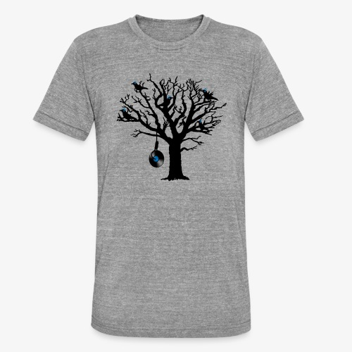Musical Birds in Tree 2 blau Hangman Vinyl - Unisex Tri-Blend T-Shirt von Bella + Canvas