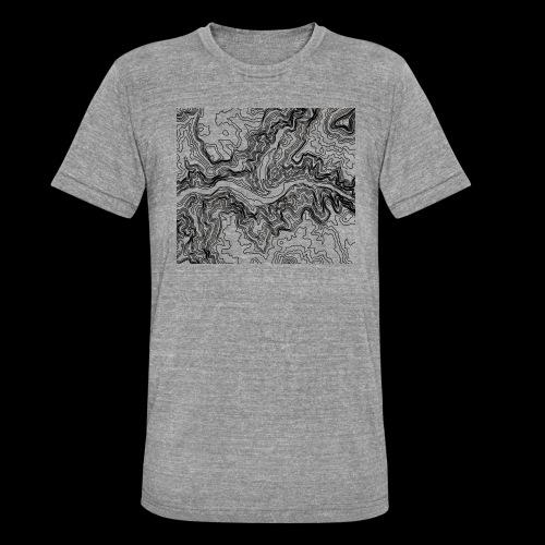 Hoehenlinien schwarz - Unisex Tri-Blend T-Shirt von Bella + Canvas