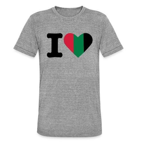 hartjeroodzwartgroen - Unisex tri-blend T-shirt van Bella + Canvas