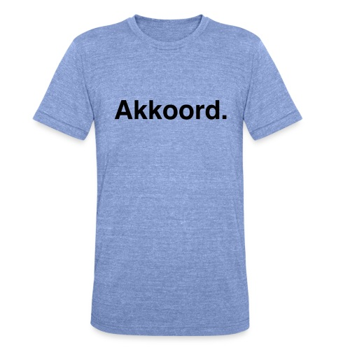 Akkoord - Unisex tri-blend T-shirt van Bella + Canvas