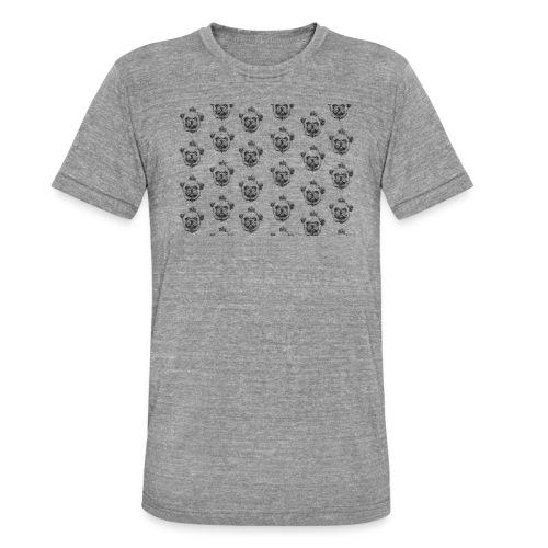 Mops mit Krone Muster Maske Hund - Unisex Tri-Blend T-Shirt von Bella + Canvas