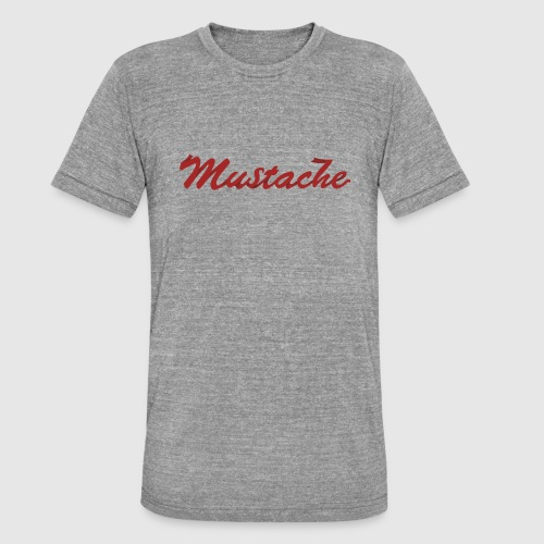 Red Mustache Lettering - Unisex Tri-Blend T-Shirt by Bella & Canvas