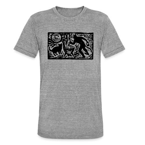 Teufel mit Katze - Unisex Tri-Blend T-Shirt von Bella + Canvas