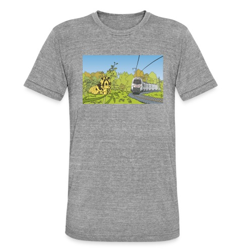 Raupe und Zug - Unisex Tri-Blend T-Shirt von Bella + Canvas