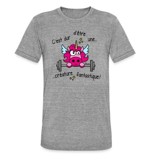 Licorne Muscu Créature Fantastique - T-shirt chiné Bella + Canvas Unisexe